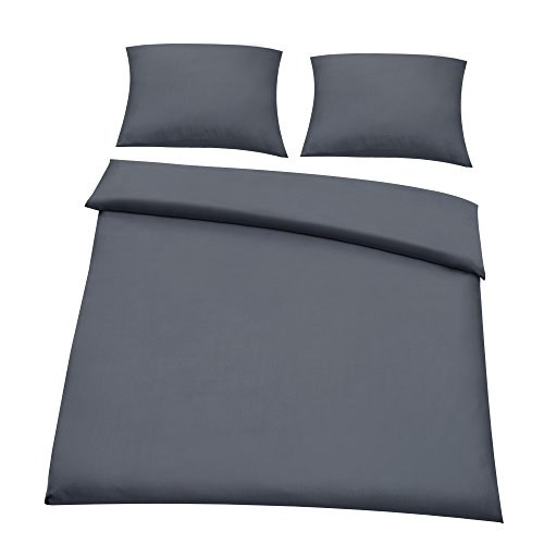 [neu.haus] King Size Duvet cover + Pillow case - (200x200cm + 2 * 80x80cm) - DARK GREY - Oeko Tex tested - Microfibre - Polyester - Bed Set with Zipper