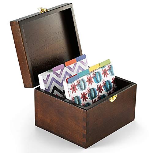 Caja de cartón con 75 tarjetas de recetas de 4 x 6, madera de haya y tarjetero, tarjetas hechas con cartulina gruesa. Organizador de recetas perfecto.