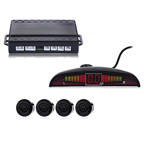 Bourdonnement son Car Capteur de stationnement Auto Parktronic LED avec 4 capteurs inverse moniteur de stationnement Radar de sauvegarde détecteur de System – Noir
