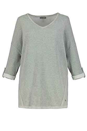 GINA LAURA Damen Sweatshirt, Rippenstruktur, Oversized, 3/4-Arm hellgrau Melange XXL 750460 13-XXL
