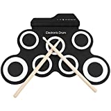 N/P Portable Electronic Roll Up Drum Kit,Electric Drum Set with Headphone Jack with Power Supply, Foot Pedals, and Drumsticks, Best Birthday Gift