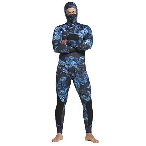 QIMANZI Taucheranzug Männer 5mm Neopren Thermal Neoprenanzüge Tauchen 2 Stück Badeanzug Jacken Hosen(Blau,2XL)