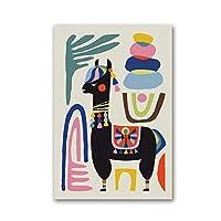 羊手描きかわいい肖像画アートコンビネーションポスタープリントキャンバス壁画ミニマリストスタイルアートパターンモジュラーリビングルーム-60x80cmx1フレームなし
