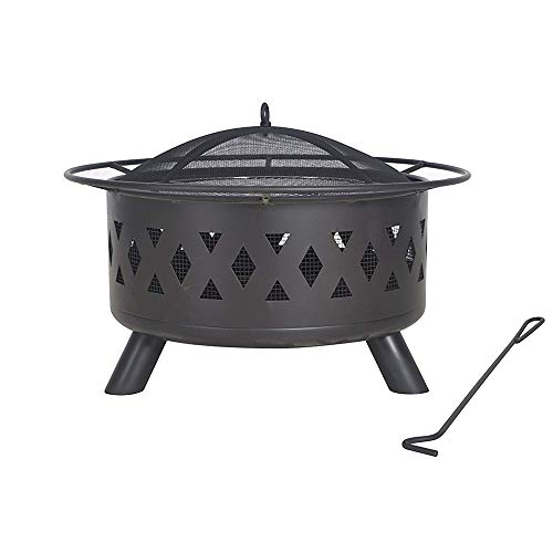 "Legacy Heating, COD-WD-28, Heavy Duty Wood Burning Fire Pit, Black, 30"" x 20"" with 50lb"