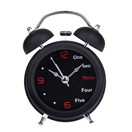 FPRW wekker met dubbele retro bel, tafelklok met twee klokken, Engels voor tafel, wekker, grote klok, thuisdecoratie, zwart (8 x 12 cm)