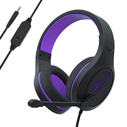 Anivia Gaming Headset Stereo Headphone with Microphone for Laptop PC Mac PS4 Phones Xbox Ones/X Controller Nintendo Switch Games-MH601 (Purple Black)
