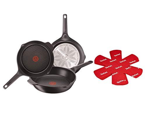 Tefal Aroma Lot de 3 poêles en aluminium avec revêtement anti-adhésif pour tous types de cuisinières, dont induction 22/24/26 cm Lot assorti 48.8x28.9x9.1 cm Noir