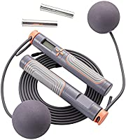 Jump Rope, Herui Adjustable Digital Counting Jump Rope with Exercise Cordless Ball and Weighted Handles, Speed...