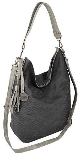 Jennifer Jones Große Schultertasche Eleganter Shopper auch als Crossover Umhängetasche tragbar (Schwarz)