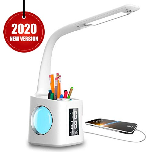VAZILLIO LED Schreibtischlampe Dimmbar Stifthalter 10W Nachttischlampe mit Schwanenhals, Tischleuchte mit Touchfeld/LCD Display,kalender , Wecker Temperaturerfassung Augenschutz Leselampe