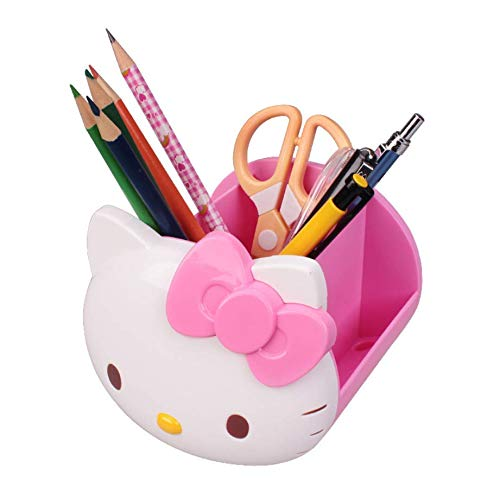 AKAMAS Organizador de suministros de escritorio, lindo titular de bolígrafo de plástico Hello Kitty, soporte para bolígrafos de almacenamiento de múltiples celdas (1 paquete, rosa).