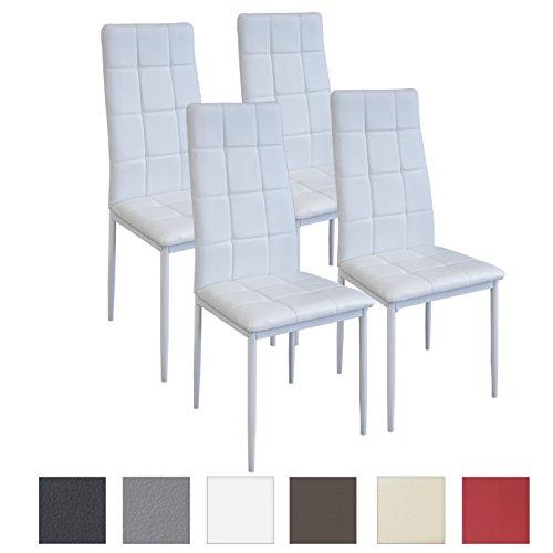 Albatros Silla Rimini, Set de 4 sillas, Blanco, certificada por la SGS, Silla de Comedor