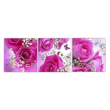 Amoy Art - The butterfly with Pink Rose Flowers Modern Canvas Prints Stretched Artwork Abstract Pictures to Photo Paintings on Canvas Wall Art for Home Decorations Room Decor