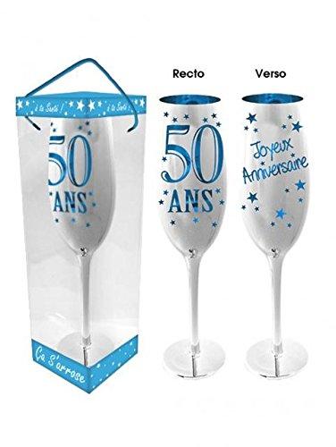 Flûte à Champagne 50 Ans - Bleu ou Rose