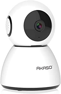 AKASO WiFi Camera Security Camera, 1080P FHD Smart Home Surveillance Camera, Baby/Pet Monitor Work with Alexa, Night Vision, 2 Way Audio, Motion Detection, Remote Monitoring Cloud Storage(P40)