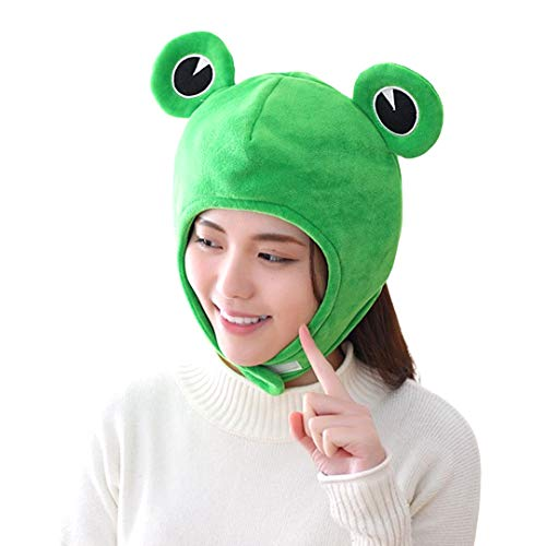 Surkat Plush Frog Hat Funny Cartoon Animal Frog Scarf Cap Cute Winter Warm Hat Headwear for Party Dress Up Cosplay Costume