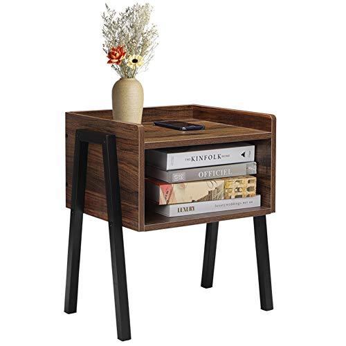 Cocoarm Holz Nachttisch Beistelltisch mit Stauraum Retro Nachtschrank Vintage Kaffeetisch Stabil Sofatisch mit Offenem Fach Metallgestell Kommode Holzoptik 46 x 25.7 x 52cm