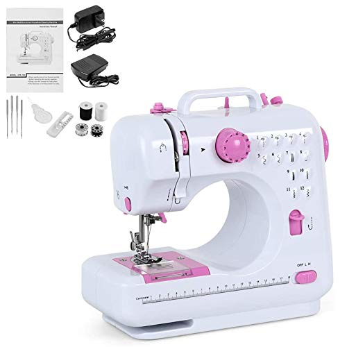 Electric Sewing Machine Portable Mini Sewing Machine Small Household Sewing Handheld Tool with 12 Built-in Stitches 2 Speeds LED Light Overlock Function for Amateurs Beginners Embroidery Pink