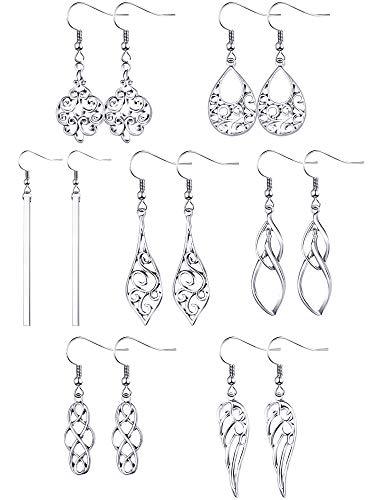 7 Pairs Celtic Knot Dangle Earrings Knot Silver Earrings Teardrop Hoop Earring