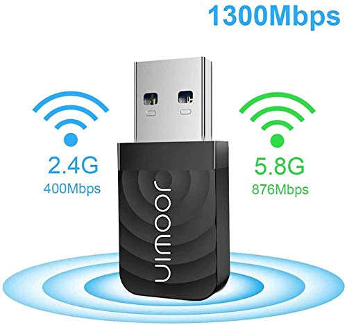 JOOWIN WLAN Stick USB Wifi Dongle AC1300 Dual Band WLAN Adapter 867Mbps 5GHz / 400Mbps 2,4GHz 802.11ac/n USB 3.0 WiFi Empfänger WLAN USB-Adapter WiFi Adapter für PC Windows 10/8.1/8/7 Mac OS10.9-10.15