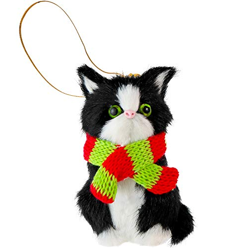Ornativity Christmas Mini Cat Ornament - Furry Black Kitten with Scarf Holiday Tree Hanging Decoration