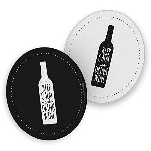 itenga 50x Bierdeckel Untersetzer Wein Keep Calm and Drink Wine schwarz weiß