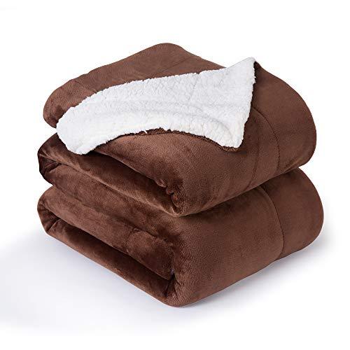 VOTOWN HOME Sherpa Decke Braun weich Kuscheldecke 220x240 cm, Doppelschicht warm Flauschige Fleecedecke als Wohndecke/Sofadecke, Flanell Mikrofaser-Flausch Decke für Bett oder Couch