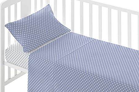 PimpamTex – Juego de Sábanas para Cuna y Minicuna, Sábanas 100% Algodón Súper Suaves para Bebé, Ropa de Cama con 3 Piezas con Estampados Alegres y Coloridos (Cuna - 60 x 120 cm, Gorbea Azul)