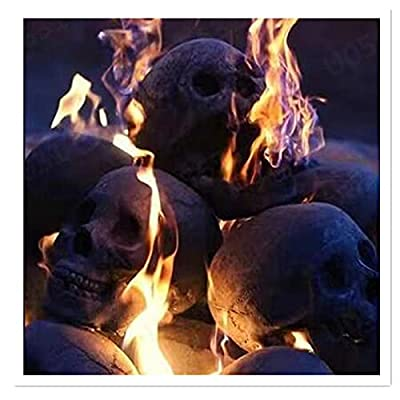 HOMEAIYOU Creativity Ceramic Imitation Human Skull Fire Log, 2021 Halloween Decoration Home Decor, Interesting and Unique Ornament Decoration Skull On The Barbecue for Wood Fireplace from HOMEAIYOU