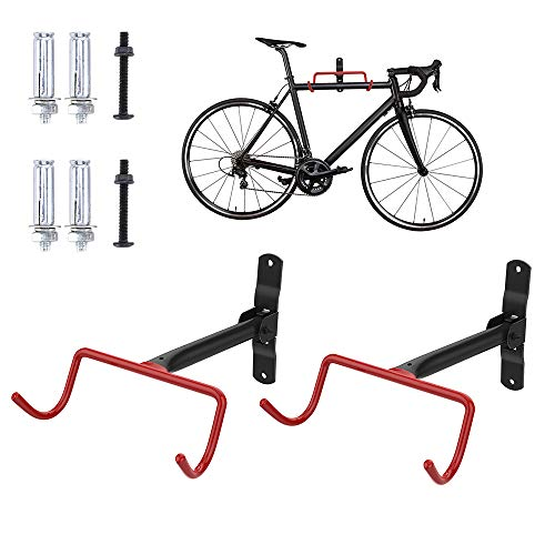Nuovoware Bike Wall Mount Bike Hanger Rack 2 Pack, Foldable Bicycle Garage Horizontal Hook Storage System, Anti-Scratch Bicycle Holder Hook for Garage Indoor and shed, Screws Included