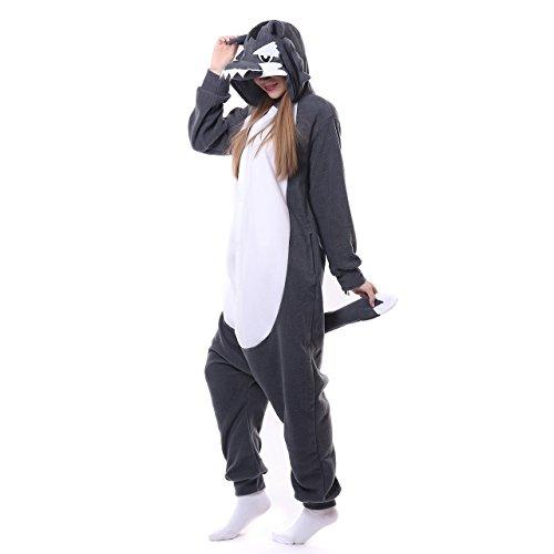 Halloween Costume Pigiama Animale Lupo Carnevale Cosplay Unisex Adulto Onesie Gris