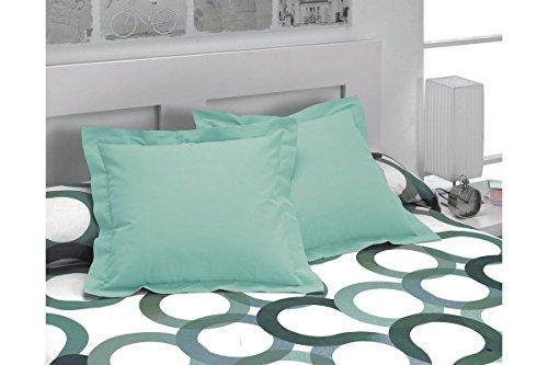 SABANALIA - Pack 2 Unidades Funda de cojín Basic Colours, 50 x 50, Verde