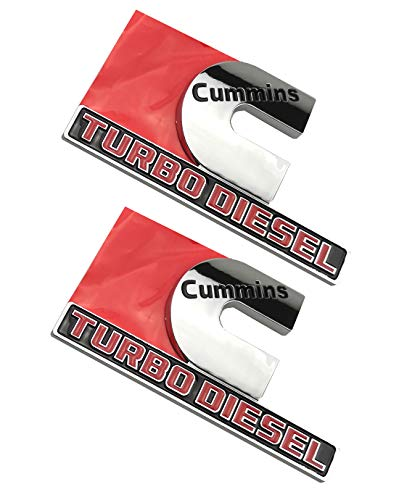 Cummins Turbo Diesel Emblems, Badges High Output Nameplate Replacement Sticker for RAM 2500 3500 Fender Emblem (Chrome)
