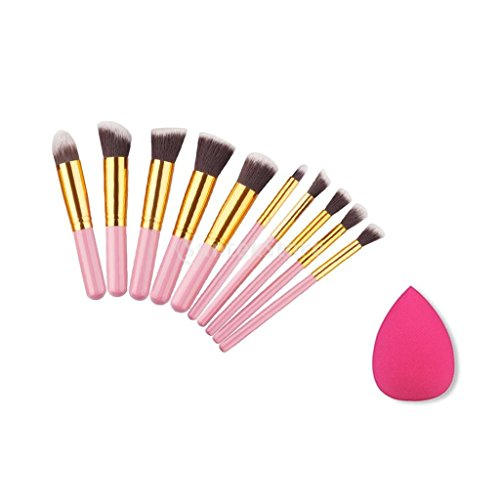 Kit de Maquillage 10pcs Brosse + Eponge Blender à Visage Yeux Lèvres - Rose doré
