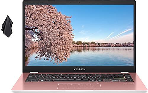 """2021 ASUS 14"""" Thin Light Business Student Laptop Computer, Intel Celeron N4020 Processor, 4GB DDR4 RAM, 128GB Storage, 12Hours Battery, Webcam, Zoom Meeting, Win10 + 1 Year Microsoft 365, Rose Gold"""