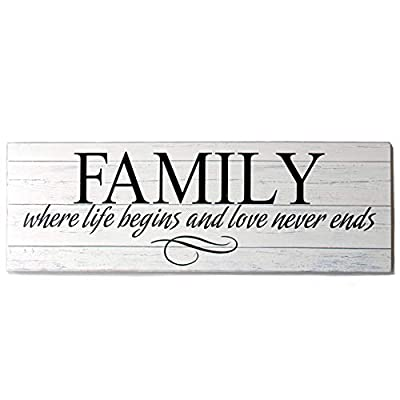 OYEFLY Wall Art Decor, Family Decorative Signs Inspirational Motto Canvas Prints,Wooden Decorative Sign (White,16.5in x 5.5in)