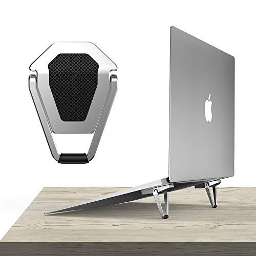 Antaka パソコンスタンド 折りたたみ式 アルミ製 滑り止めラバー付き 両面テープ固定 持ち運び便利なデスクワーク用パソコンスタンド (銀)