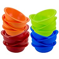 DecorRack Set of 16 Cereal Bowls, Soup Bowl for Salat, Fruit, Dessert, Snack, Small Serving and Mixing Bowls, - BPA Free - Plastic, Shatter Proof and Unbreakable, Assorted Colors, 28 oz (Set of 16)