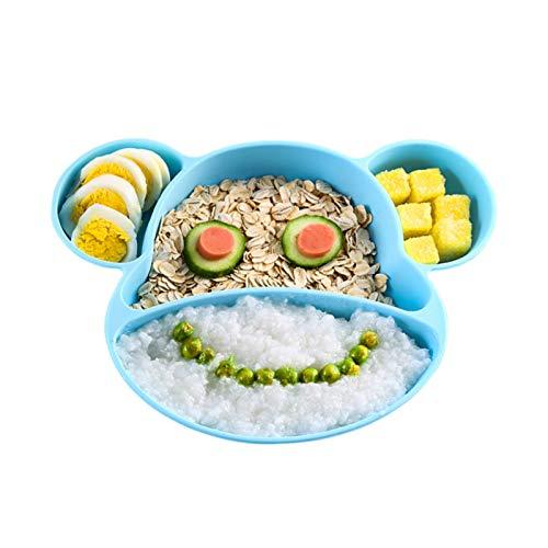 YOOFOSS Assiettes en silicone pour bébés,tout-petits et enfants, avec une forte aspiration, Sans BPA, approuvé au lave-vaisselle et au micro-ondes, approuvé par la FDA, Bleu