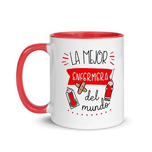 Kembilove Taza de Desayuno de la Mejor Enfermera del Mundo – Tazas de Café de Profesiones y Trabajadores para la Oficina – Tazas de Té para Profesionales – Taza de Cerámica de 350 Ml