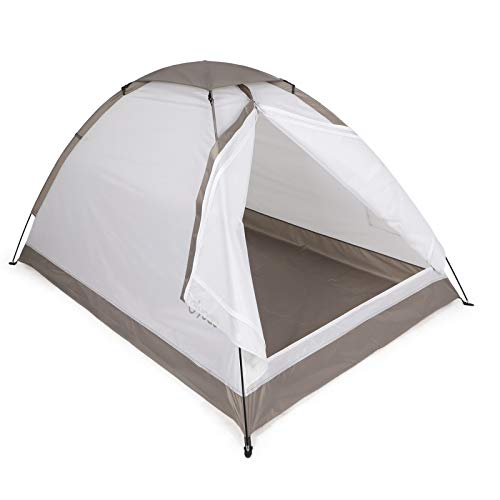 Yodo Upgraded Lightweight 2 Person Camping Backpacking Tent with Carry Bag,White Brown