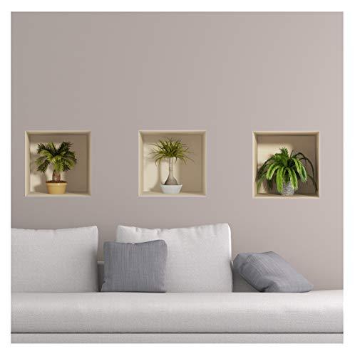 Sticker 3D Effekt | Wandaufkleber Palmen - Tapete Dekoration optische Täuschung Raum und Wohnzimmer | 30 x 90 cm