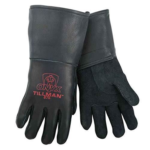 Tillman Medium Black Elkskin CottonFoam Lined Welders Gloves with Top Grain Elkskin Cuff and Kevlar Thread Locking Stitch (Carded) (875M)
