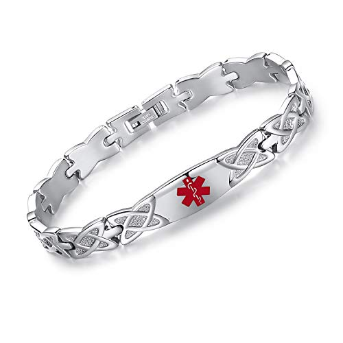 Tarring Shiny Star Identification Bracelets for Women Medical Alert Bracelet with Free Engraving(7.5)