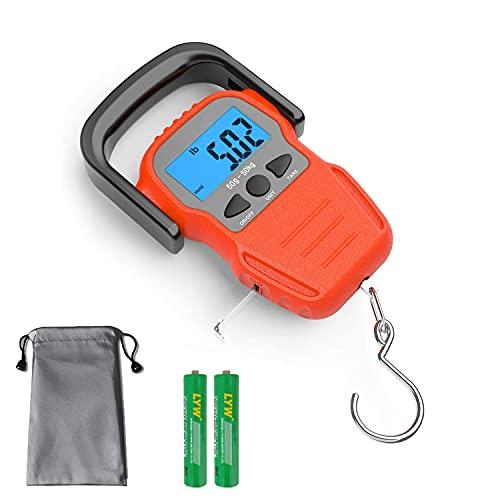 Bilancia portatile Bilancia Pesa Valigia Per Valigie da Viaggio per Viaggi/Aperto/Casa,Pesca Postale con Gancio Appeso Scala con Nastro di Misura, 110lb/50kg, 2 Batterie AAA Incluse