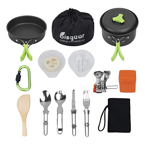 Bisgear 16 Pcs Camping Cookware Stove Carabiner Canister Stand Tripod Folding Spork Set Outdoor Camping Hiking Backpacking Non-Stick Cooking Picnic Knife Spoon
