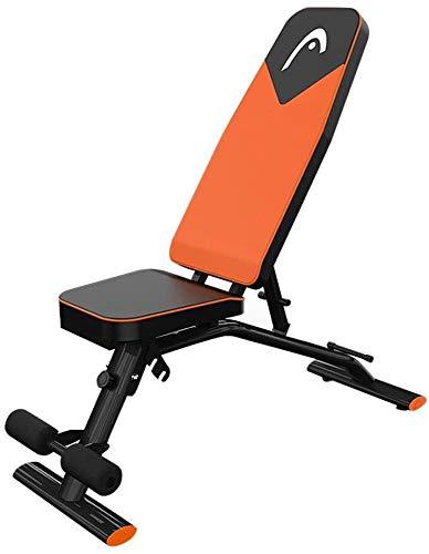HUJPI verstellbare Sit-Up-Bank, Klappbar Hantelbank höhenverstellbar Trainingsbank mit hochwertigem dickem Polster/Rückenlehne für Ganzkörpertraining für´s Home-Gym,Orange_97*40.5 * 45cm