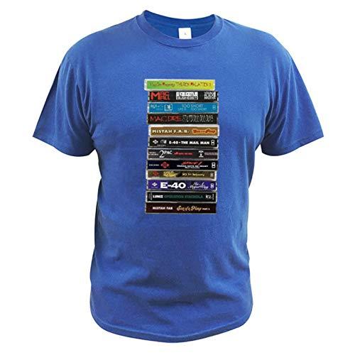 Bay Area Dope Tapes Hyphy Mob Cassette Mix Tapes Bay Area Hip Hop History Fan Art Merch & Gear Classic T Shirt 100% Cotton Tees-Blue,S