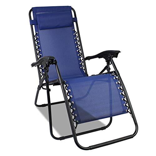 Todeco Chaise Longue Transat Jardin Plein Air, Transat de Plage Pliable, Bain de Soleil avec Repose-tête, d'accoudoirs Réglables, Chaise de Camping en Respirantes Textilène, Bleu
