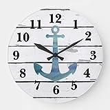 JeremyHar75 - Reloj de pared de madera, diseño náutico de ancla azul, de madera decorativa rústica, moderno, silencioso, para comedor, cocina, dormitorio, regalo de bienvenida